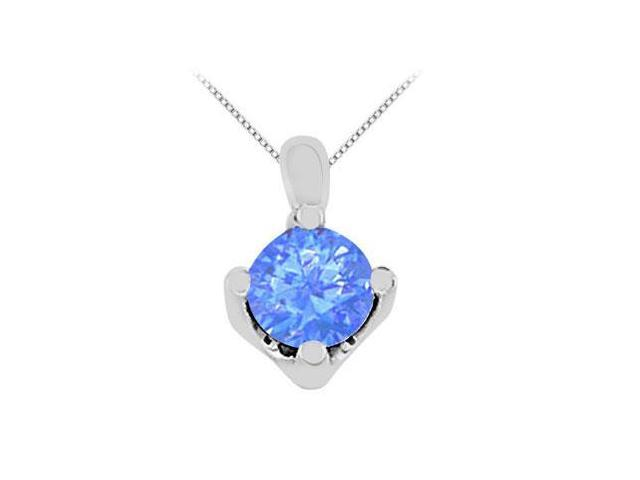 Prong Set Diffuse Sapphire Solitaire Pendant in 14K White Gold 1 Carat Total Gem Weight