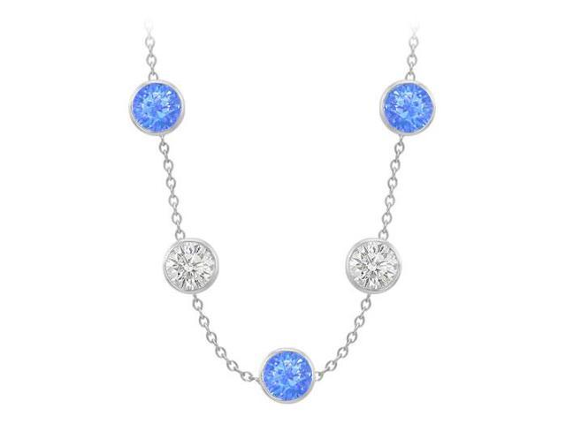 Diamonds By The Yard Blue Diffuse Sapphires and CZs on 14K White Gold Bezel Set 75.00 ct.tw