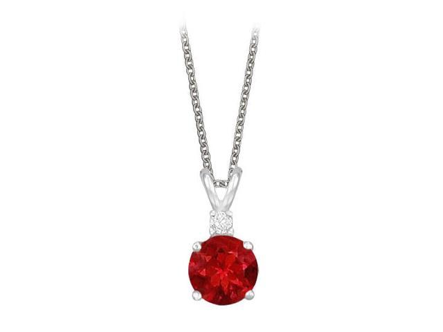 Round Cut Created Ruby and Cubic Zirconia Pendant Necklace in Sterling Silver. 1.02.ct.