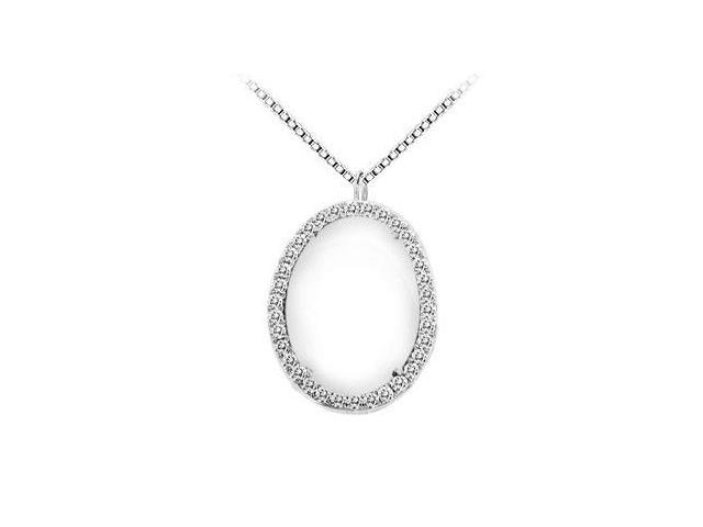 Sterling Silver White Agate and Cubic Zirconia Pendant 16.00 CT TGW