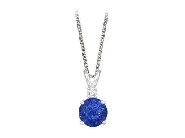 Round Cut Created Sapphire and Cubic Zirconia Pendant Necklace in Sterling Silver. 1.02.ct.