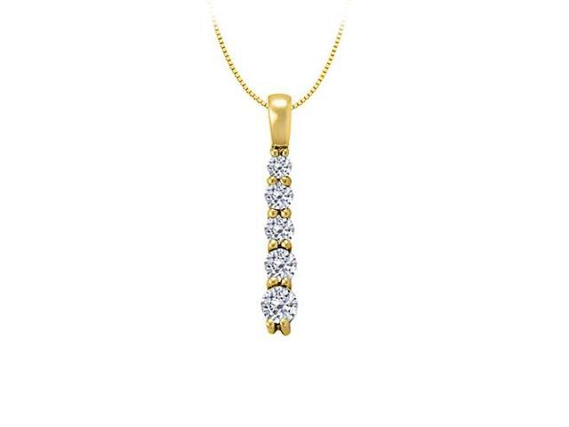 Diamond Five Stone Straight Line Pendent in 14K Yellow Gold 0.50 CT TDWJewelry Gift