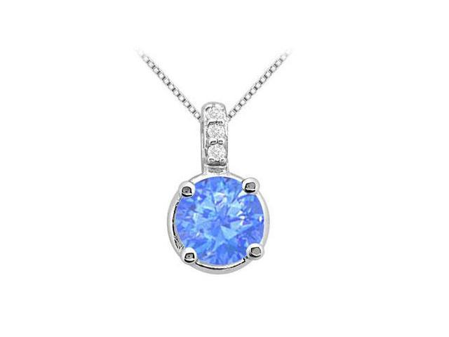 Diffuse Sapphire 2 Carat Pendant in White Gold 14K with White CZ 2.06 Carat Total Gem Weight
