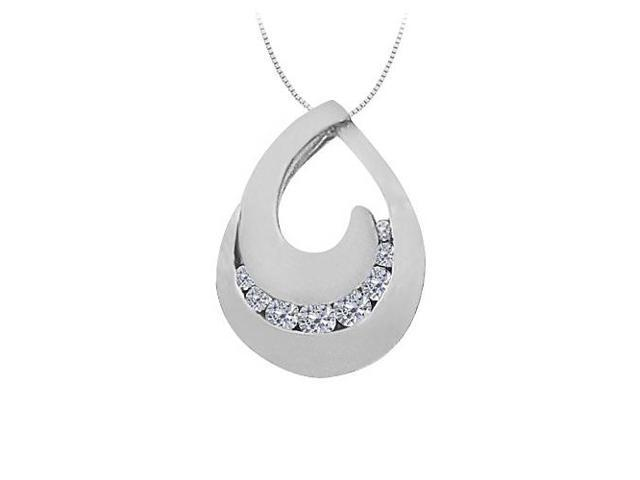 Cubic Zirconia Tear Drop Pendant in Sterling Silver 0.33 CT TGWPerfect Jewelry Gift for Women