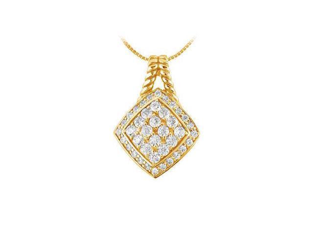 Diamond Square Pendant  14K Yellow Gold - 1.00 CT Diamonds