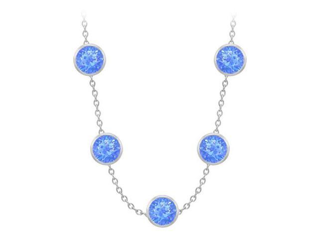 Diamonds By The Yard Blue Diffuse Sapphires Necklace on 14K White Gold Bezel Set 100.00 ct.tw