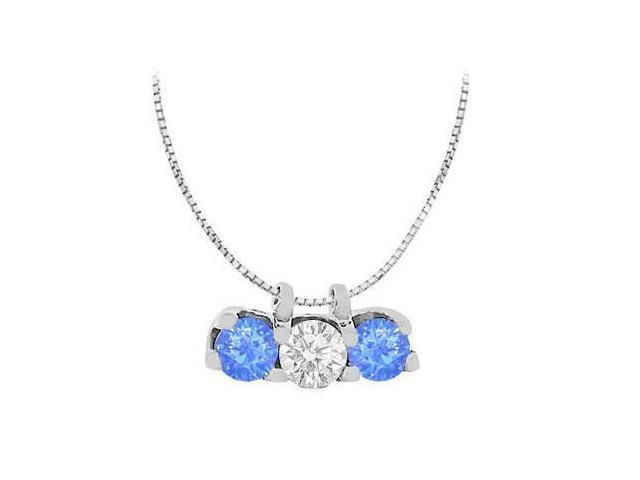 Diffuse Sapphire with Cubic Zirconia Round Cut in 14K White Gold Three Stone Pendant with 1.50 C