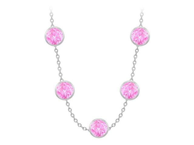 Diamonds By The Yard Created Pink Sapphires Necklace on 14K White Gold Bezel Set 100.00 ct.tw
