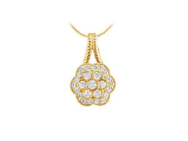 Diamond Flower Pendant  14K Yellow Gold - 0.50 CT Diamonds