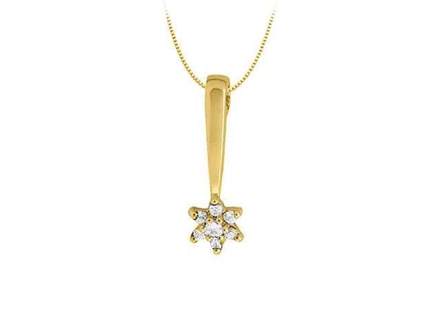 Diamond Star Pendant in 14K Yellow Gold 0.25 CT TDWPerfect Jewelry Gift