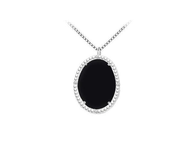 Sterling Silver Black Onyx and Cubic Zirconia Pendant 15.08 CT TGW