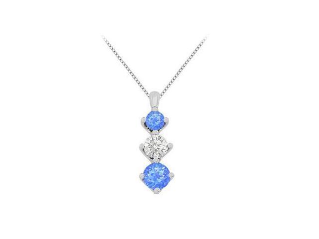 Three Stone Created Sapphire and Cubic Zirconia Pendant in 14K White Gold Total Gem Weight of 1.