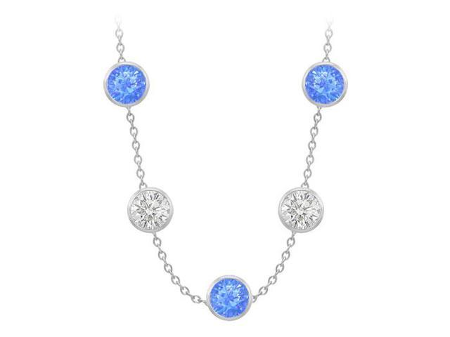 Diamonds By The Yard Blue Diffuse Sapphires and CZs on 14K White Gold Bezel Set 100.00 ct.tw