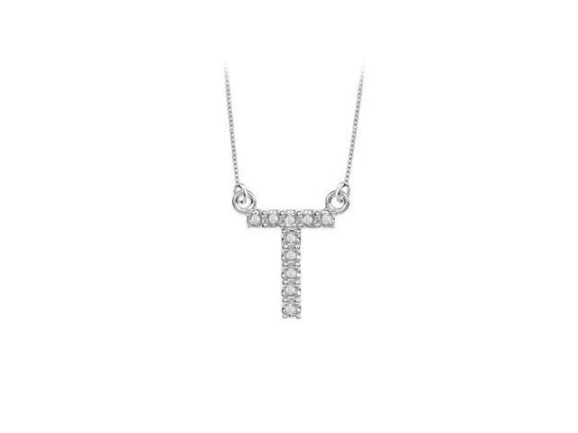 Petite Baby Charm Diamond T Initial Pendant  14K White Gold - 0.20 CT Diamonds