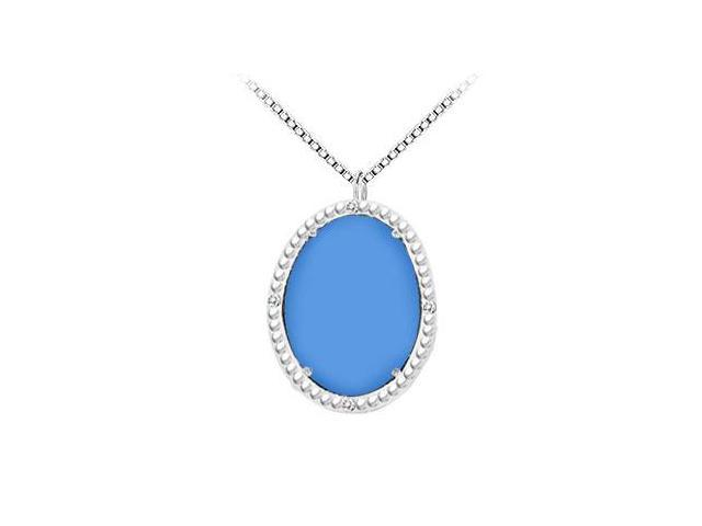 Sterling Silver Blue Chalcedony and Cubic Zirconia Pendant 15.08 CT TGW