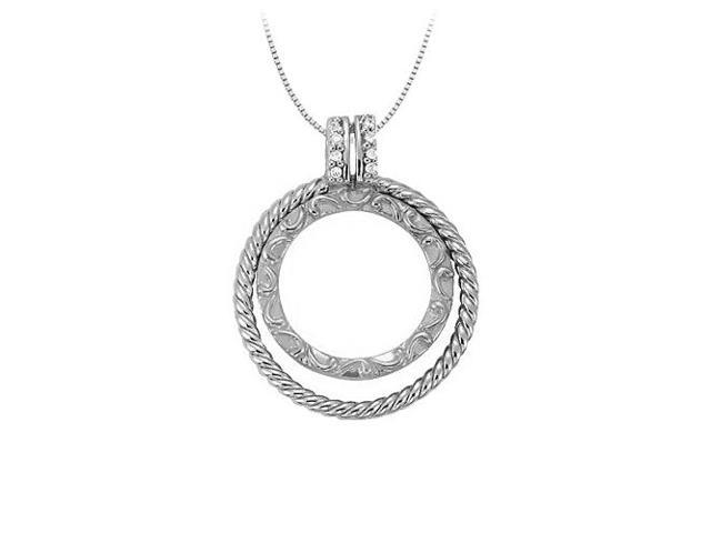 Cubic Zirconia Double Circle Pendant in Sterling Silver 0.05 CT TGWJewelry Gift for Women