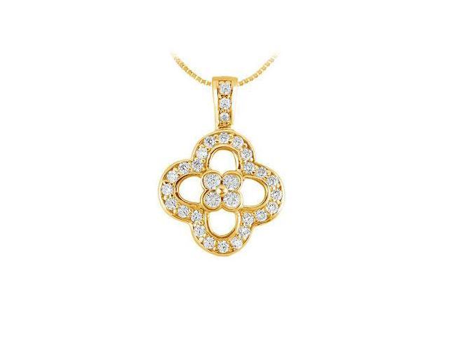 Diamond Flower Pendant  14K Yellow Gold - 0.50 CT Diamonds