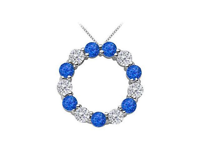 Circle of Life Eternity Pendant with 2 Carat Diamond and Natural Blue Sapphire in White Gold 14K