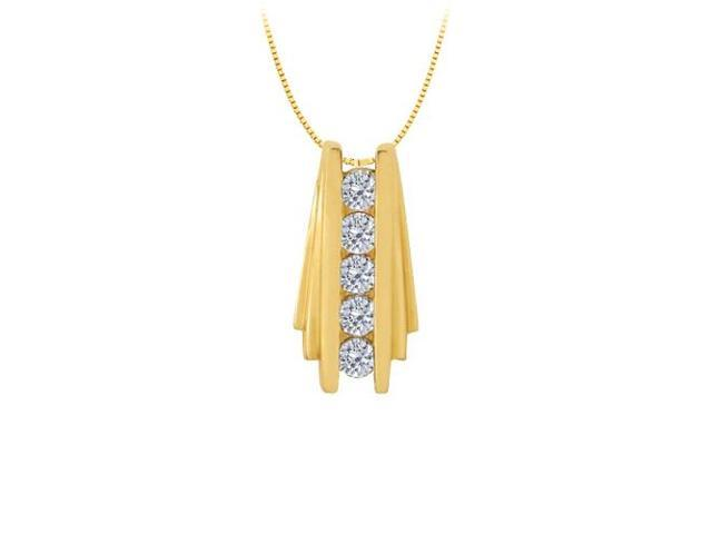 Diamond Channel Set Straight Line Pendant in 14K Yellow Gold 0.50 CT TDWJewelry Gift