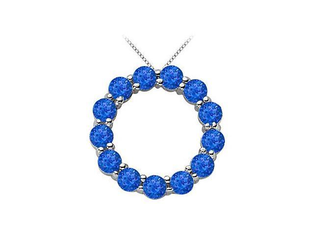 Blue Sapphire of September Birthstone Circle Necklace in 14K White Gold 2 Carat Total Gem Weight