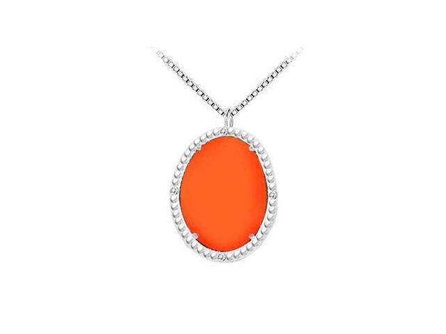 Sterling Silver Orange Chalcedony and Cubic Zirconia Pendant 15.08 CT TGW
