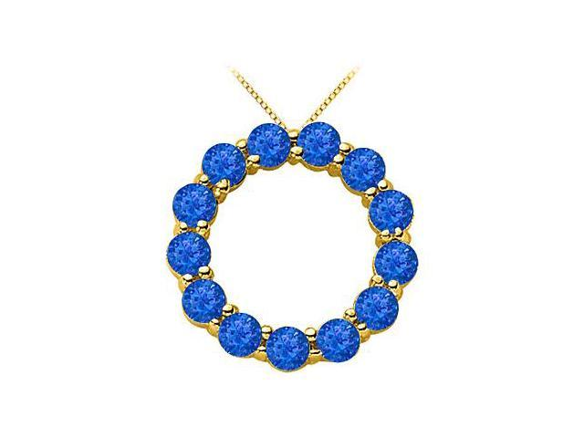 Blue Sapphire of September Birthstone Circle Necklace in 14K Yellow Gold 2 Carat TGW