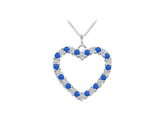 Blue Sapphire and Diamond Heart Pendant in 14K White Gold Total Gem Weight of 0.75 Carat.