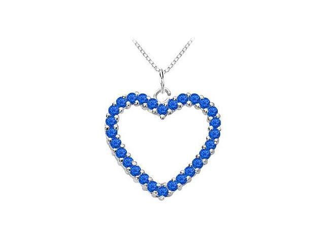 Fashion Natural Blue Sapphire Heart Pendant in White Gold 14K Total Gem Weight of 0.75 Carat