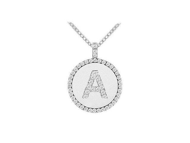 Diamond Initial A Disc Pendant  14K White Gold - 0.55 CT TGW