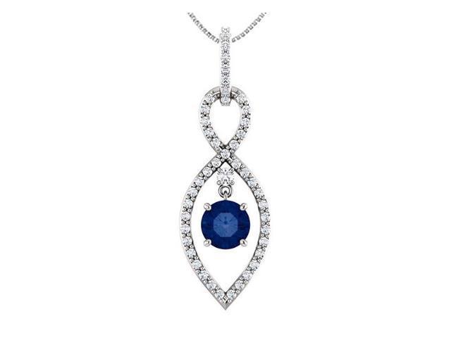 14K White Gold Infinity Diamond Pendant with Natural Blue Sapphire of 1.50 Carat TGW
