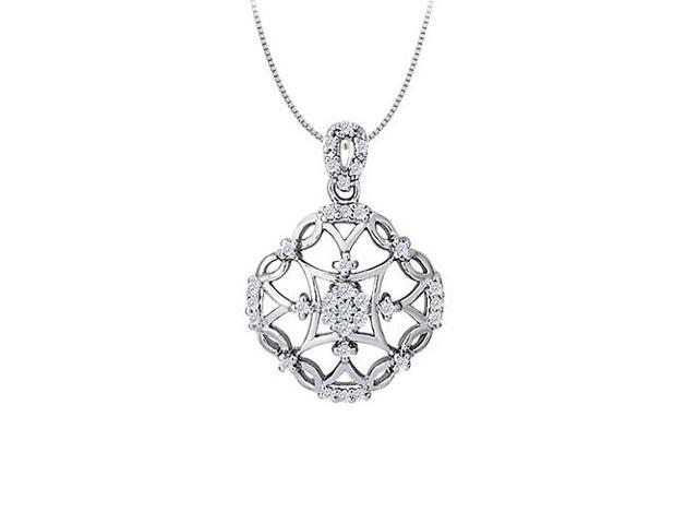 Cubic Zirconia Square Shaped Pendant in Sterling Silver 0.25 CT TGW