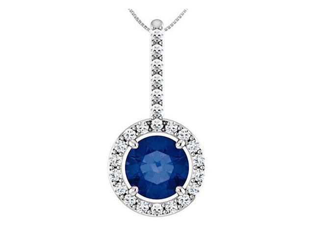 14K White Gold Diamond Halo Style Drop Pendant with 6 MM Blue Sapphire of 1.25 Carat TGW