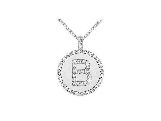 Diamond Initial B Disc Pendant  14K White Gold - 0.60 CT TGW