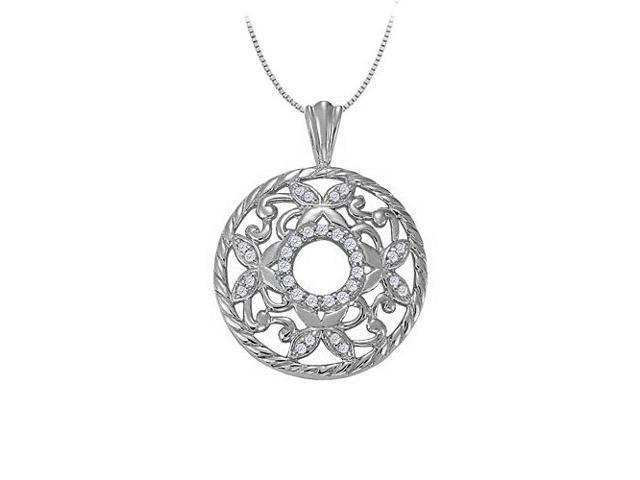 0.25 Carat Total Cubic Zirconia in Sterling Silver Fancy Circle Fashion Pendant