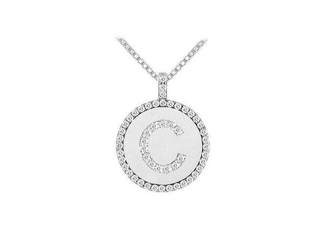 Diamond Initial C Disc Pendant  14K White Gold - 0.55 CT TGW