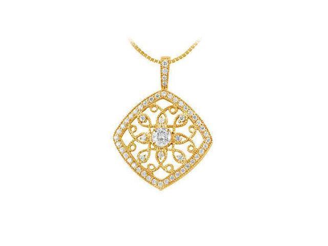 Diamond Flower Pendant  14K Yellow Gold - 0.75 CT Diamonds