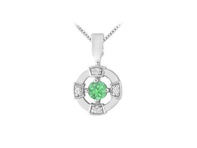 Emerald and Diamond Pendant  14K White Gold - 0.25 CT TGW