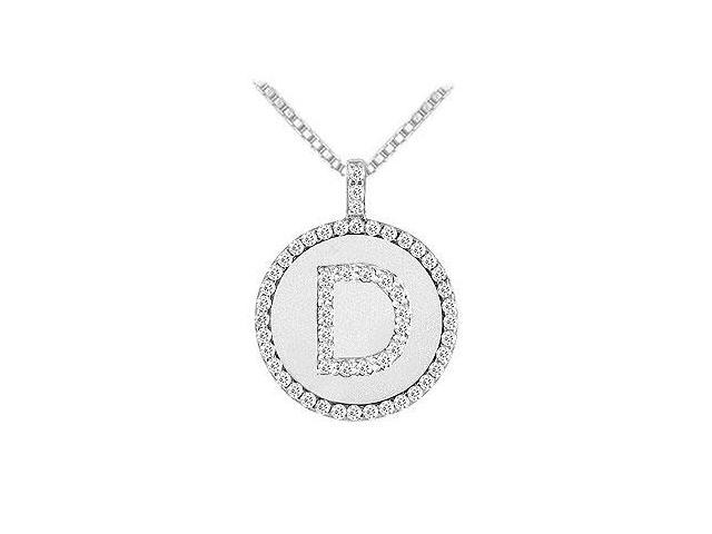 Diamond Initial D Disc Pendant  14K White Gold - 0.55 CT TGW