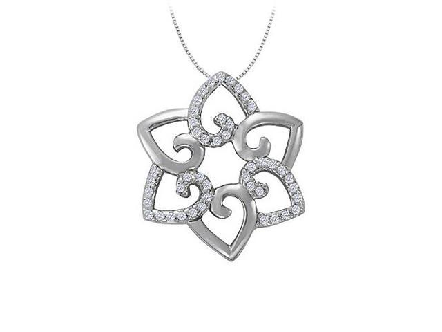 Cubic Zirconia Flower Shaped Pendant in Sterling Silver 0.25 CT TGWJewelry Gift for Women