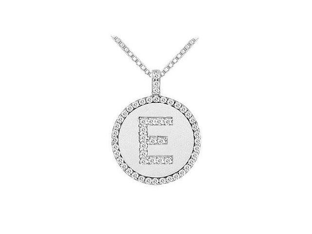 Diamond Initial E Disc Pendant  14K White Gold - 0.55 CT TGW