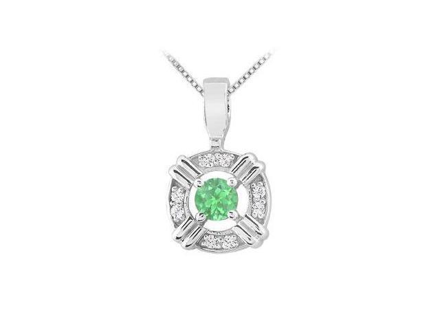Emerald and Diamond Circle Pendant  14K White Gold - 0.25 CT TGW