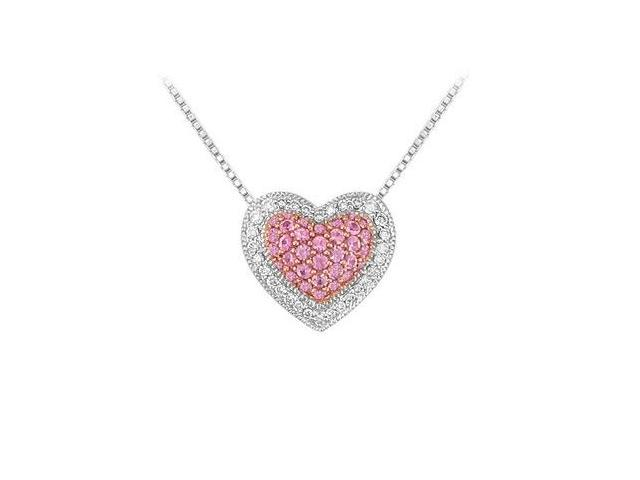 Pink Sapphire and Diamond Heart Pendant  14K White Gold - 0.75 CT TGW