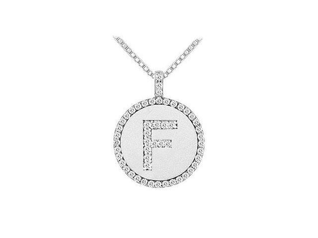Diamond Initial F Disc Pendant  14K White Gold - 0.50 CT TGW