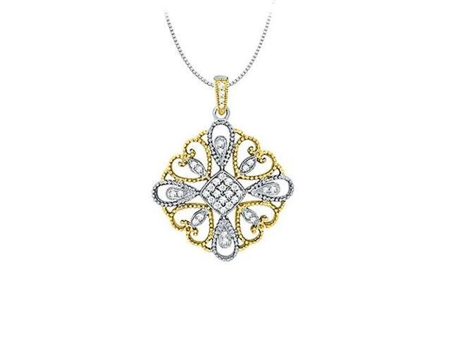Diamond square pendant in Two Tone 14K Gold 0.33 CT TDWJewelry Gift for Women