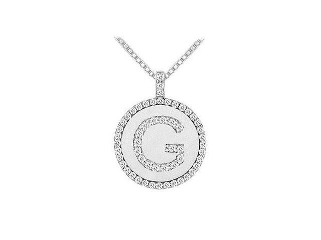 Diamond Initial F Disc Pendant  14K White Gold - 0.55 CT TGW