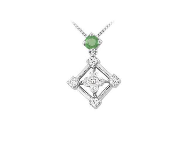 Emerald and Diamond Pendant  14K White Gold - 1.00 CT TGW