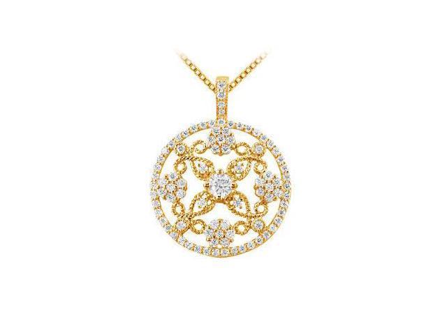 Diamond Circle Pendant  14K Yellow Gold - 1.25 CT Diamonds
