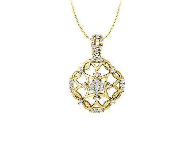 Diamond Square Shaped Pendant in 14K Yellow Gold 0.25 CT TDWPerfect Jewelry Gift