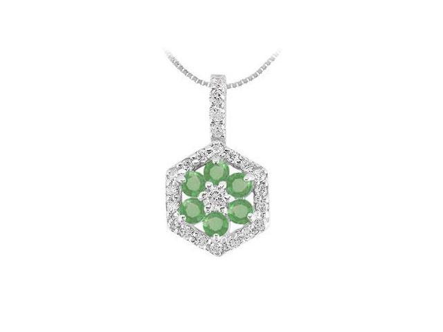 Emerald and Diamond Geometric Design Pendant  14K White Gold - 1.50 CT TGW