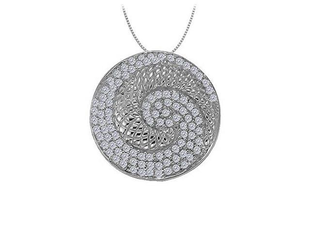 Cubic Zirconia Fancy Circle Fashion Pendant Sterling Silver 0.50 CT TGWJewelry Gift for Women